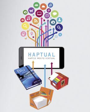 """Orcas goes Online: Das neue Konzept """"Haptual"""" verbindet die Vorteile haptischer Werbung mit denen des Digitalmarketings. Über unsichtbare Codes werden die Papierprodukte mithilfe von Apps zu Portalen in den virtuellen Raum."""