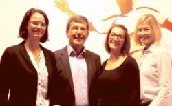 Das Werbemittelteam von Trade Con (v.l.): Sabrina Fromm, Geschäftsführer Manfred Blöhm, Hannah Blöhm und Carolin Buchmann.