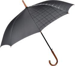 Eleganter Effekt: Das dezente Muster der Wetlook- Veredelung ist nur auf der nassen rechten Seite des Schirms erkennbar.