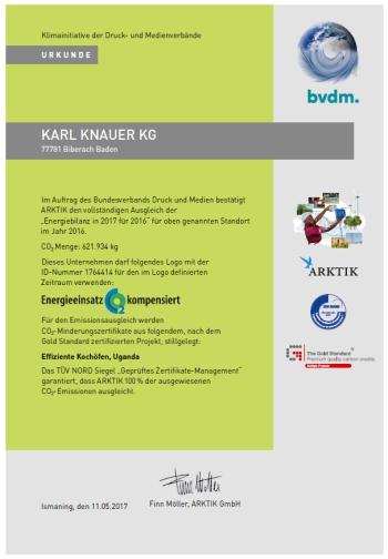 Karl Knauer Urkunde 350x504 - Karl Knauer KG: 100% klimaneutral