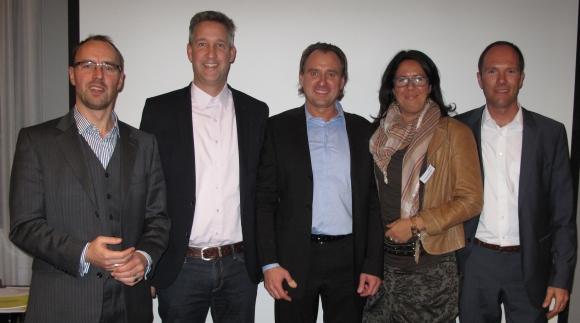 Vorstand und Beirat des bwg (v.l.): Ronald Eckert (Döbler Werbeartikel), Carsten Lenz (S&P Werbeartikel), Joachim Schulz (Absatzplus), Eva Hassenbach (Hassenbach Werbemittel Mainz) und Mirco Häßlich (Moll Logistik).