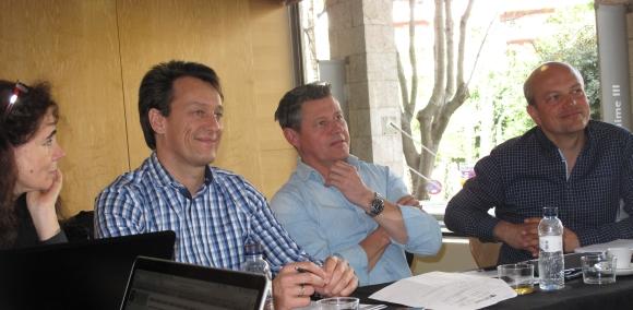 Vorstand und Geschäftsführer (v.l.): Katharina Becker, Ralf Hinterleitner (CEO), Alex Roethlisberger (Vorsitzender), Peter Kaspar.