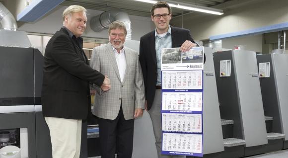 V.l.: Berthold Müller (neuer Leiter des Geschäftsbereichs Werbekalender bei Wölfer), Martin Leithäuser (Inhaber von Wölfer) und Philipp Leithäuser (Geschäftsleitung Wölfer).