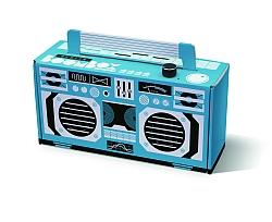Die auf den Promotionbereich zugeschnittene Berlin Boombox Easy ist 27 cm breit, 19 cm hoch und mit zwei Lautsprechern je 2,5 Watt ausgestattet.