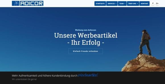 """Auf der Startseite präsentiert sich Adicor mit dem Slogan """"Unsere Werbeartikel – Ihr Erfolg""""."""