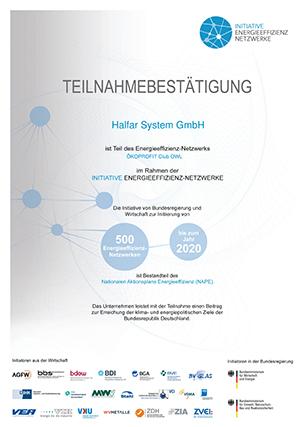 Halfar Energieeffizienz Netzwerk 300 - Halfar: Mitglied im Energieeffizienz-Netzwerk