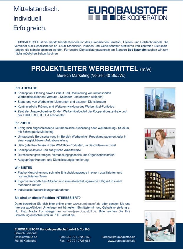 41357 - Projektleiter Werbemittel (m/w)