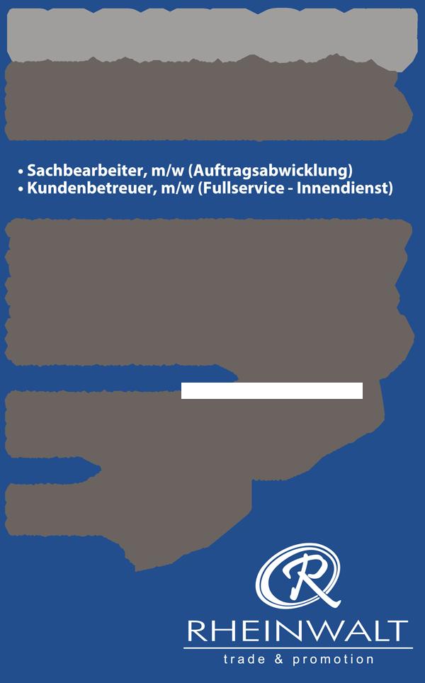 RW Stellenanzeigen 171207 - Sachbearbeiter, m/w, und Kundenbetreuer, m/w