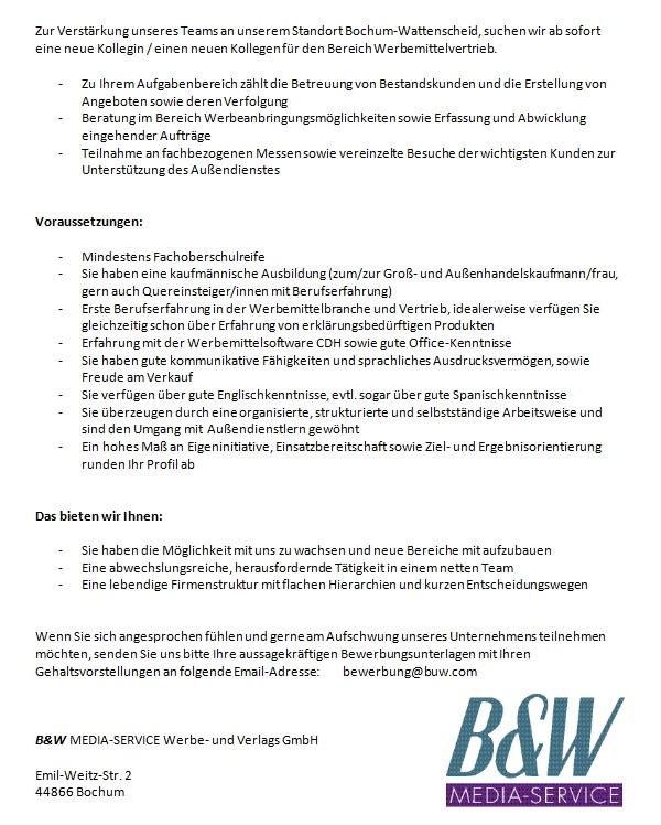 642 bundwmitlogo - Vertriebsmitarbeiter im Innendienst (m/w)