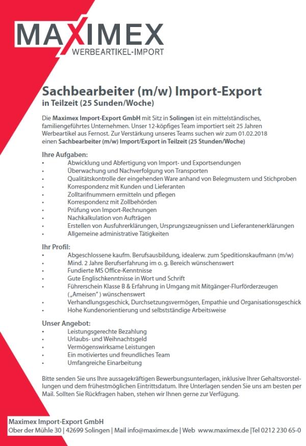 642 maximex - Sachbearbeiter Import-Export in Teilzeit (m/w)