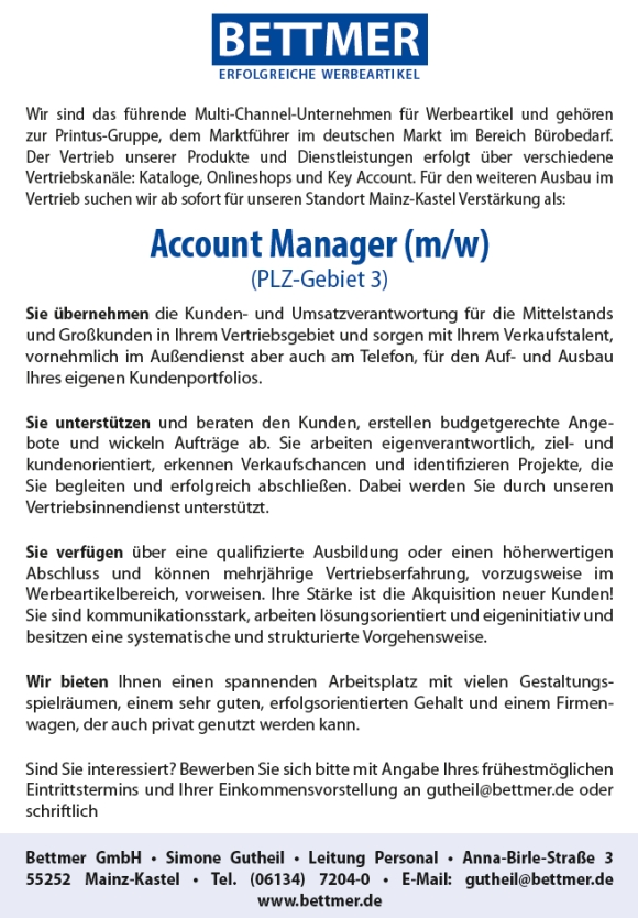 643 Bettmer3 - Account Manager (m/w)