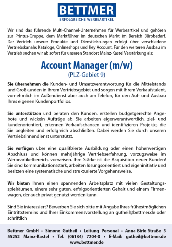 643 Bettmer9 - Account Manager (m/w)