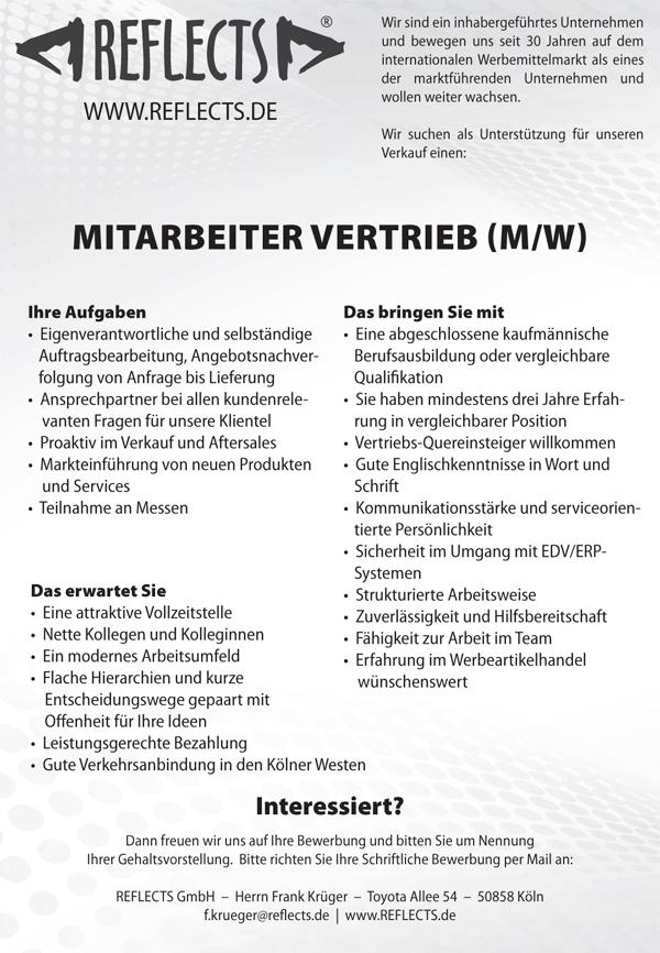 Stellenausschreibung REFLECTS VertriebDE 29012018 - Mitarbeiter Vertrieb (m/w)