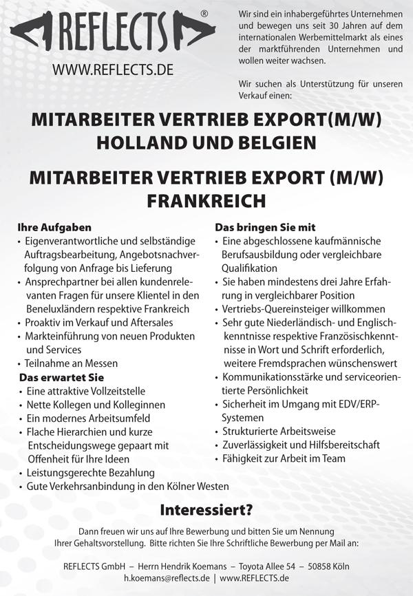 Stellenausschreibung REFLECTS VertriebEXPORT 29012018 - Mitarbeiter Vertrieb Export (m/w)