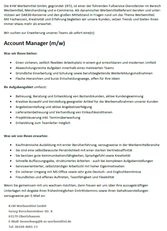 645 kundm accountmanager - Account Manager (m/w)