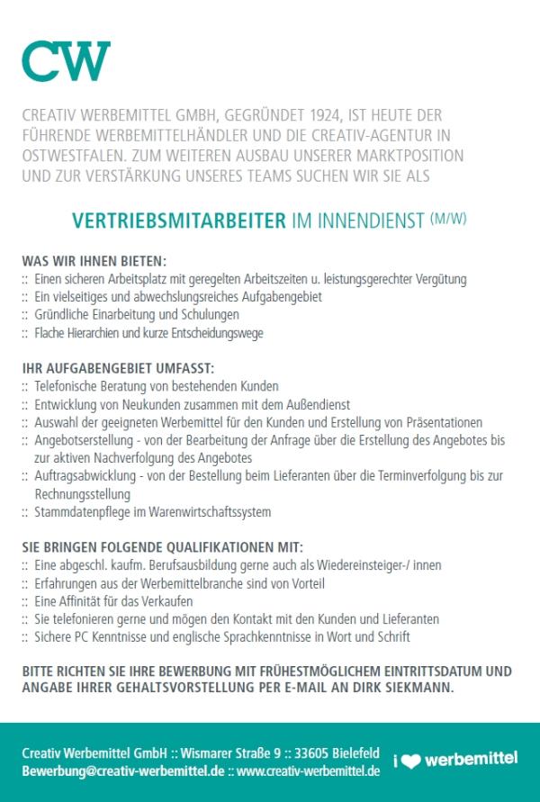 647 creativ - Vertriebsmitarbeiter im Innendienst (m/w)