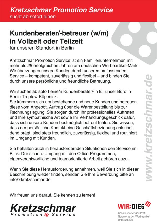wn370 jobshop kretzschmar - Kundenberater/-betreuer (w/m) in Vollzeit oder Teilzeit