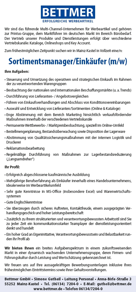 654 bettmer - Sortimentsmanager/Einkäufer (m/w)