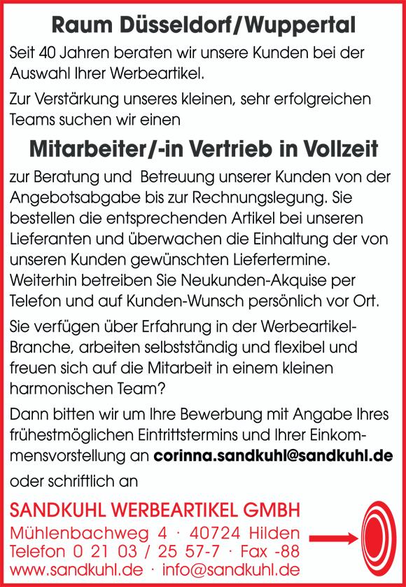 Sandkuhl Werbeartikel Mitarbeitersuche 90x130mm - Mitarbeiter /-in Vertrieb in Vollzeit