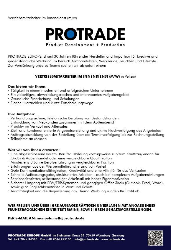Stellenanzeige Protrade - Vertriebsmitarbeiter im Innendienst (m/w) in Vollzeit