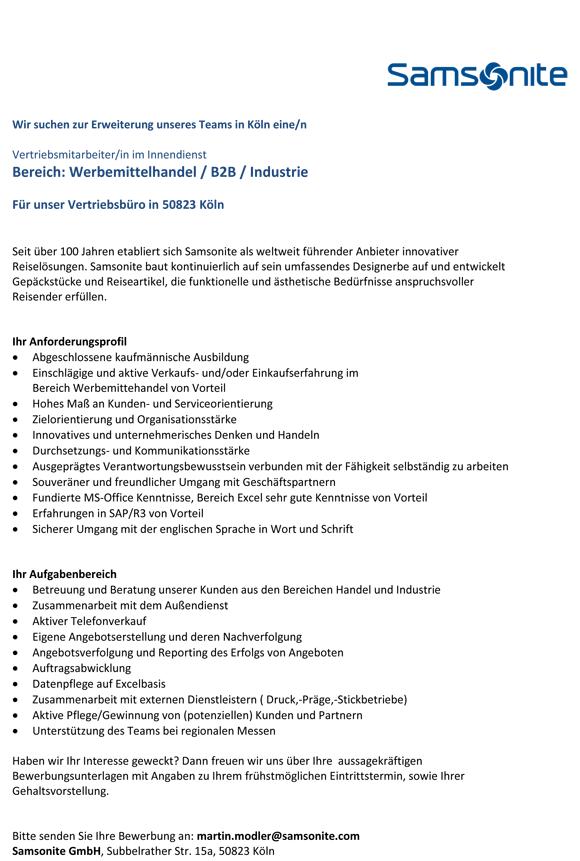Stellenausschreibung Samsonite B2B - Vertriebsmitarbeiter/in im Innendienst