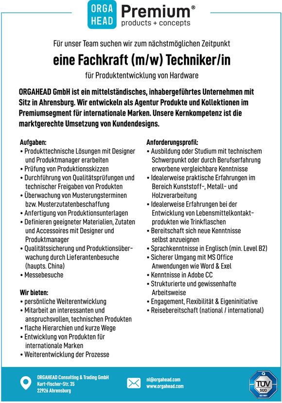 wn373 jobshop orgahead tech - Fachkraft (m/w) Techniker/in