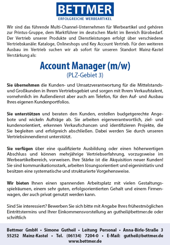 662 bettmer - Account Manager (m/w)