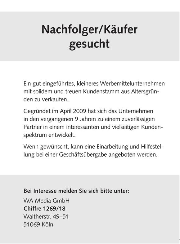 WN374 jobshop Anz - Nachfolger/Käufer gesucht