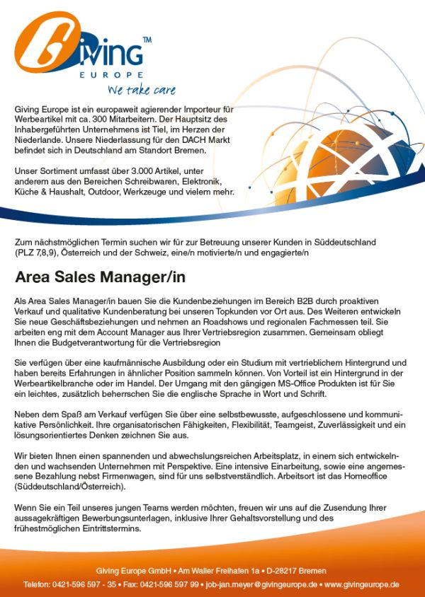 672 givingeurope - Area Sales Manager (m/w)