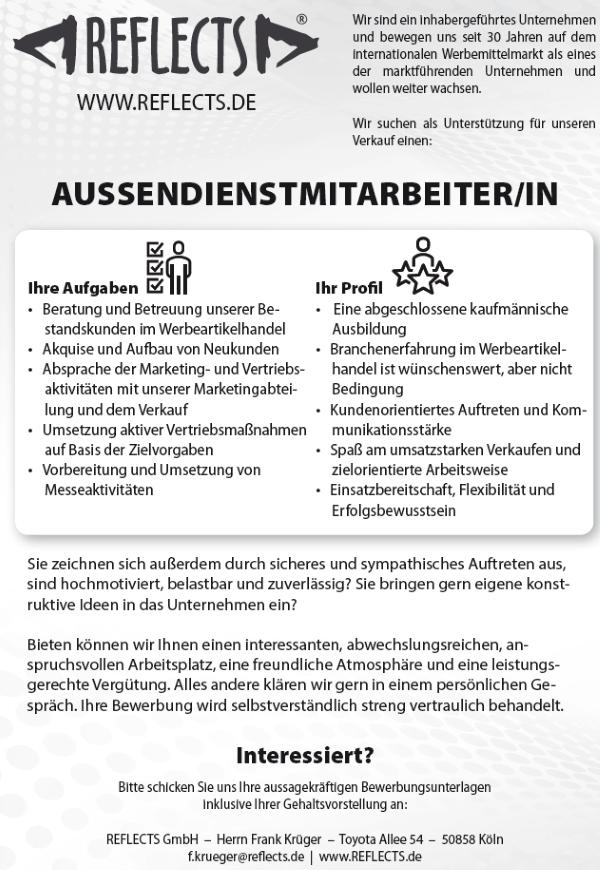 672 reflects jobshop - Außendienstmitarbeiter (m/w)