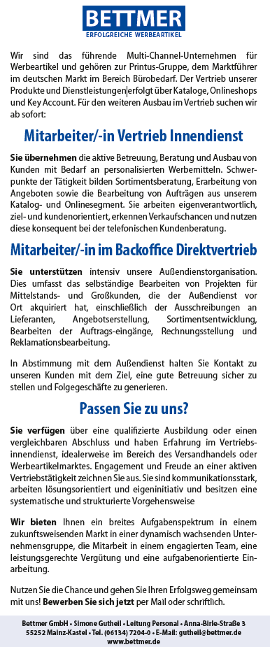 673 bettmer - Mitarbeiter im Vertrieb Innendienst (m/w) - Mitarbeiter im Backoffice Direktvertrieb (m/w)