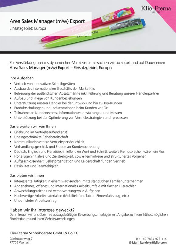 Stellenanzeige Area Sales M - Area Sales Manager (m/w) Export – Einsatzgebiet Europa