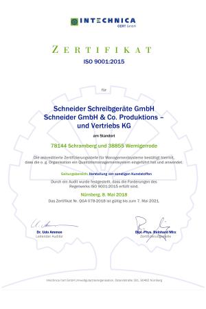 iso 90012015 zertifikat das sich auf alle geschaeftsbereiche des unternehmens bezieht.1297 - Schneider erweitert Managementsysteme