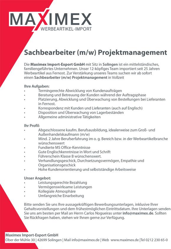 Sachbearbeiter Projektmanagement 22112018 - Sachbearbeiter/in Projektmanagement
