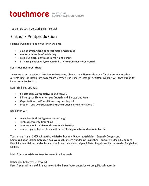 Touchmore Stellenausschreibung Einkauf - Verstärkung im Bereich Einkauf / Printproduktion