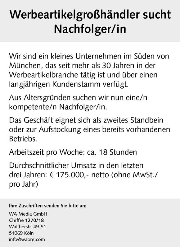 wn380 jobshop - Werbeartikelgroßhändler sucht Nachfolger/in
