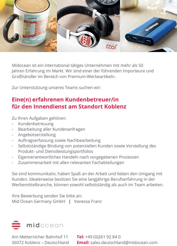 wn380 jobshop midocean - Kundenbetreuer/in für den Innendienst