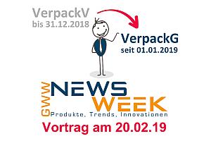 Grafik NEWSWEEK Haendlertag Vortrag VerpackG - GWW-Newsweek: Fachbesuchertag mit Vortragsprogramm