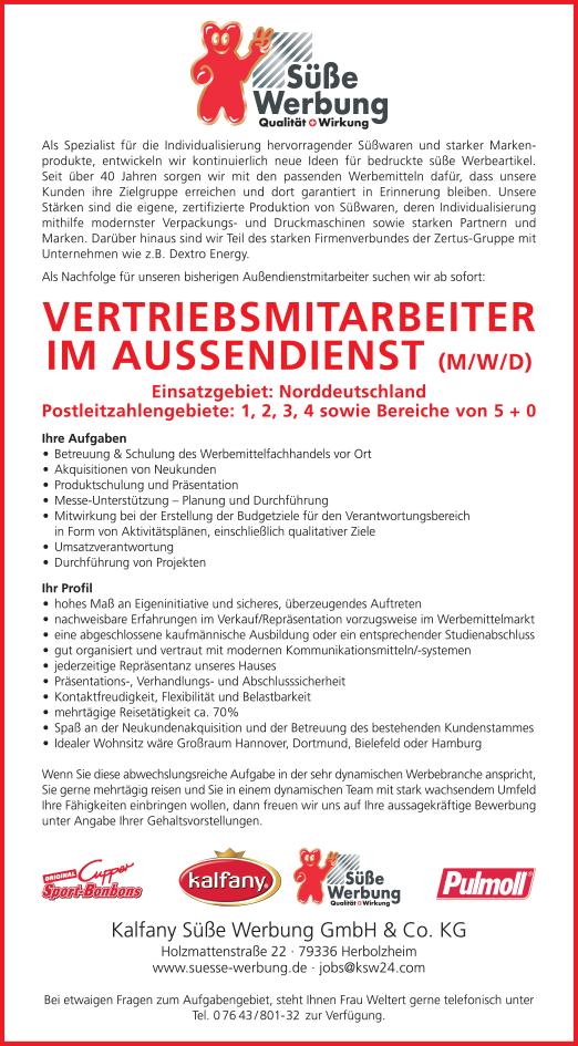 Aussendienst Nord 2019 04 - Vertriebsmitarbeiter im Außendienst (m/w/d)