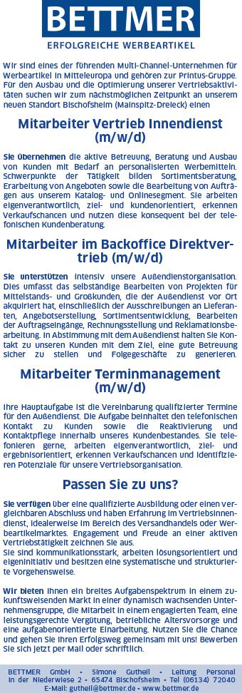 BE WV 90x260mm V3 Kombi 09 19 - Mitarbeiter Vertrieb Innendienst (m/w/d)
