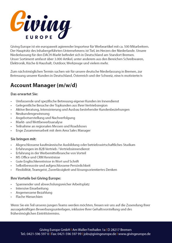 730 giv accountman - Account Manager (m/w/d)