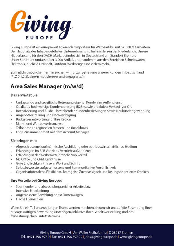 730 giv salesarea 1 - Area Sales Manager (m/w/d)