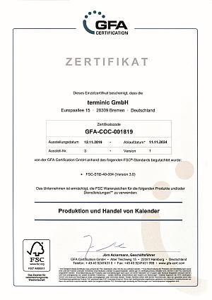terminic FSC Urkunde 2019 print - terminic: Doppelt auditiert