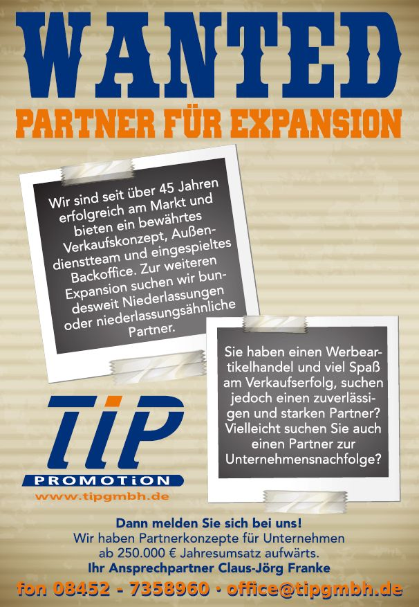 735 tip - Wanted: Partner für Expansion