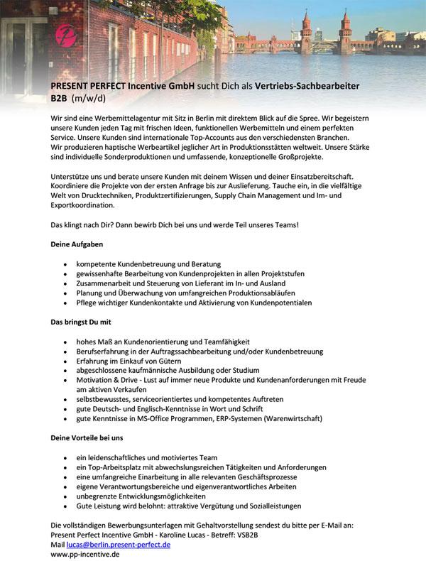 stellenanzeige PPI Innendienst - Vertriebs-Sachbearbeiter B2B (m/w/d)